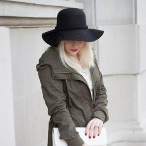 100% wool black fedora hat